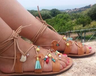 "Lace Tie up Boho Stripes Gemstone Charm ""Iris"" Sandals/Genuine Greek High Quality Leather/Natural Color / Gladiator Strap Sandals"