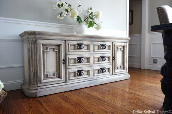 Exceptional Items Similar To SOLD   Vintage Mid Century Burlington House Furniture Hand  Painted Weathered Antique White / Grey Buffet Media Console Tv Console On  Etsy