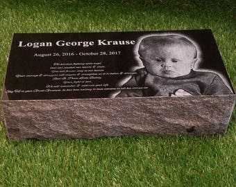 Custom Engraved 16x8x4 Grave Marker Monument Stone Personalized Memorial Black Granite 75LBS