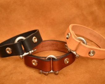 Leather zippered nautical bracelets