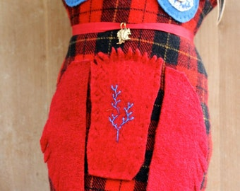 Stuffed Owl Red Plaid Felted Wool Feather Charm Soft Plush Pillow Reclaimed