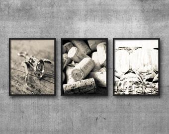 3 Photographs Rustic Wine Art - set of 3 prints, Wine Decor Dining Room Wall Art Corkscrew Glasses Corks