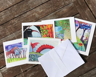 LIMITED EDITION: Imaginary Landscape Blank Greeting Cards // 5 x 7 inches, envelopes, mixed images, collection of drawings, colored pencil
