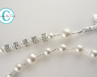 RUSH 3 DAYS  - Personalized Pearl Rosary White, Cream, Pink, Blue, Baptism Christening First Communion Confirmation Religious Gift