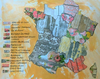 """France Collage Map Mixed Media Geometric Art  9"""" x12"""" Watercolor Paper Original World Peace Quote Prayer"""
