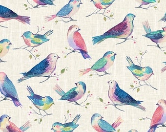 "Hoffman Fabrics ""All A Twitter Sweetpea"" by Kari Carr-One Yard Cut - A Hoffman Spectrum Print, Bird Fabric, P4390-447, colorful Bird Fabric."