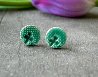 Ceramic Lace Stud Earrings, Small Artesian Clay Mint Earrings, Botanical Pottery Jewelry Aqua Jewelry, Green Porcelain