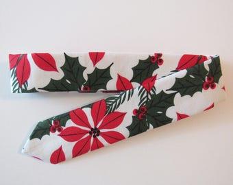 Holly Jolly Skinny Tie in Poinsettias // Ugly, Tacky Christmas Necktie