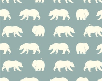 Bear Camp - Bear Hike Mineral - Organic Cotton Print by Jay-Cyn Designs from Birch Fabrics