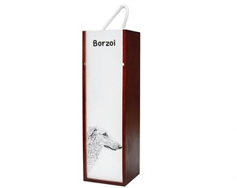 Borzoi, Russian Wolfhound - Wine box with an image of a dog.