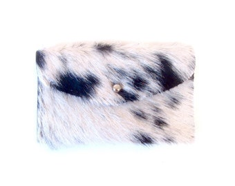 Black and White Leather Wallet - Black and Ivory Hair on Hide Wallet - Black and White Speckled Pony Hair Wallet - Black and White Clutch