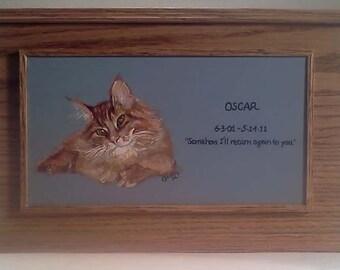 Custom Double Pet Memorial Box ,Pet Urn ,   (0ak) hardwood pet memorial box urn, portrait of pet, pet sympathy gift