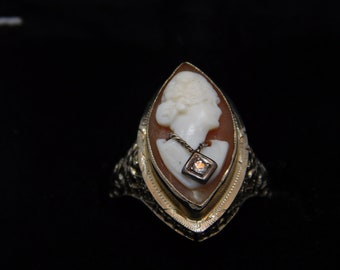 14K White gold Habille Cameo ring