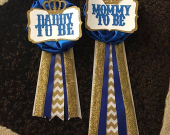 Mommy To Be Pin -- Royal Prince Baby Shower -- Royal Blue and Gold Pin -- Red and Gold Pin
