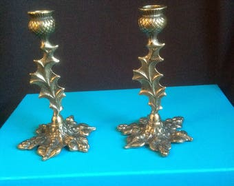 Ornate Gilded Brass Candlesticks