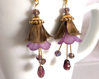 Flower Earrings, Purple Earrings, Drop Earrings, Dangle Earrings, Chandelier Earrings, Gold Earrings, Fairy Earrings, Dainty Earrings