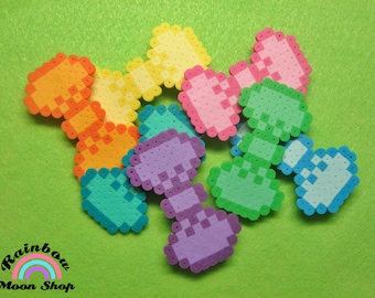 Monochrome Colored HAIR BOWS // Kawaii Perler Hama Bead Hair Accessories // Pink Orange Yellow Green Teal Blue Purple // (Pick COLOR)