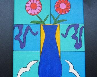 Flowers in a Vase original- Matisse inspired Original Painting