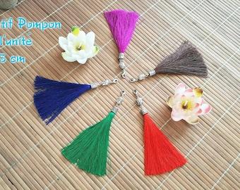 Silk thread tassel pendant unit green Buddha Metal 13 cm