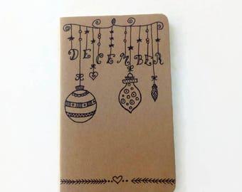 "Moleskine ""December"" Cahier Journal - Original Moleskine notebook - Hand drawn notebook - Christmas gift"