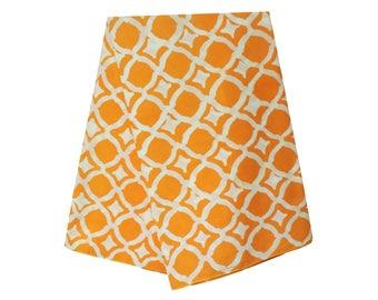 African fabric, Ankara batik print for sale by the yard, orange and white