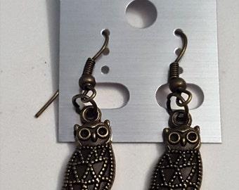 Steampunk Antique Bronze Thin Owl Earrings