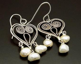 MY HEART ~ White Freshwater Pearls, Sterling Silver Hearts Earrings