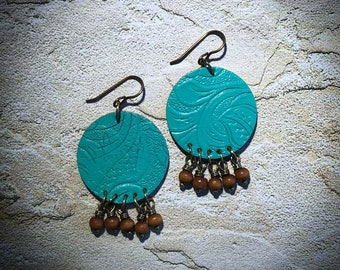 Turquoise Leather Medallion Earrings