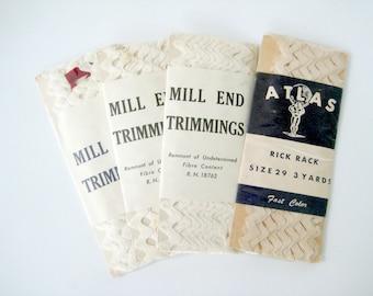 Vintage Sewing Trims, White Rick Rack, Rick Rack, Atlas Rick Rack, Vintage Rick Rack, Mill End Trimmings