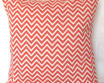 CLEARANCE 18x18 or 20x20 inch Coral Pillow Cover - Mini Chevron - Decorative Throw Cushion Cover - Coral and White Mini Zig Zag