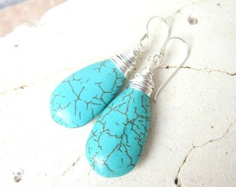 Long Turquoise Earrings Dangle. Wire Wrapped Turquoise Howlite Dangle Earrings. Turquoise Jewelry. Teardrop Turquoise Earrings.Boho Earrings