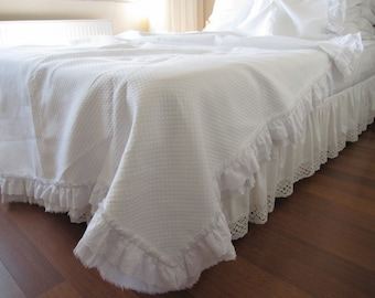 Summer blanket cotton bedspread -White ruffled matelasse-linen bed cover-TWIN queen oversized super KING 120x98 shabby chic bedding Turkish