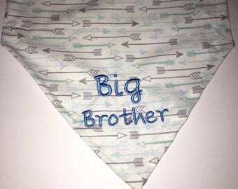 Dog Bandana, Big Brother, Pregnancy announcement, blue and gray arrows, Baby Announcement,  Over the Collar,  Dog Gift, Dog lovers gift