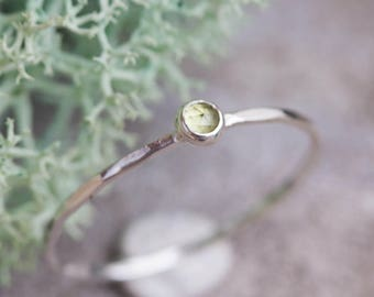 Peridot ring - skinny stacking ring with rose cut Peridot stone, August birthstone, sterling silver, 9k gold