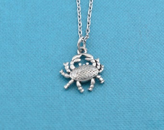 """Crab necklace in silver pewter on a 16"""" silver cable chain.  Crab necklace.  Crab pendant.  Silver crab necklace."""