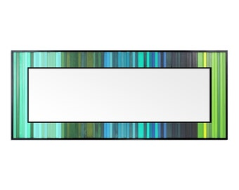 "Reclaimed Wood Art - ""Lagoon Reflection"" - Mirror Boarder in Blue, Green, and Teal Wood Wall Art, Abstract, Minimalist Art"