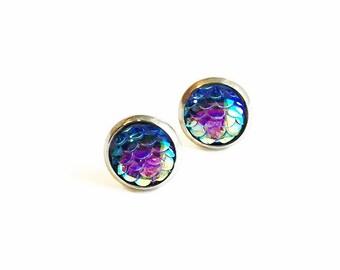 HYPOALLERGENIC Mermaid Earrings 10mm MEDIUM (Surgical Stainless Steel) - Rainbow Blue/Purple
