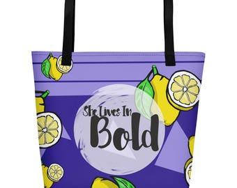 Lemon Bold Tote Bag - Large