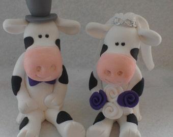 Cow Wedding Cake Topper, Bride And Groom, Novelty Topper, Handmade