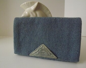 Fred Harvey El Grandee, Blue Wool Vintage Chimayo Clutch, Hand Woven in New Mexico, Stylish Souvenir, Circa 1930-1940