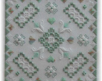 Spring Tile Hardanger Chart to work on 28 count evenweave with Pearl Cotton, stranded cotton threads. Square Design. Hardanger Embroidery.