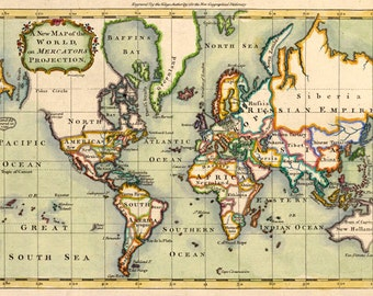 MP6 Vintage Old Historical 1766 World Map Poster Re-Print Wall Decor A1/A2/A3