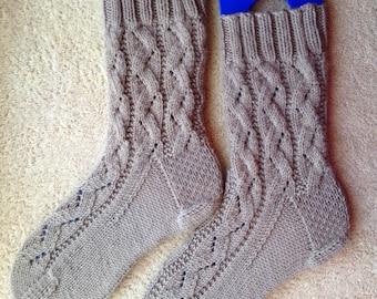 Tricotés à la main Womens Cachemire laine mélangée chaussettes (S-253)