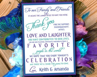 Peacock Wedding Thank You Card, Program Card, Invitation Insert DIY Printable - Stag & Doe, Engagement Party, Wedding Party, Bridal Shower