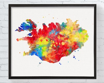 Iceland Map - Iceland Art - Iceland Poster - Iceland Print -  Art - Watercolor Map, Country Map, Map Poster, Travel Art, Travel Wall Decor