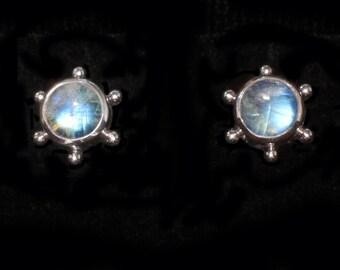 Rainbow Moonstone Stud Earring, Sterling Silver Stud Earring, Gemstone Stud Earring, Moonstone Post Earring, Silver Moonstone Studs: STAR