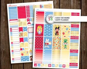 HP Wonderland Weekly Kit   PRINTABLE pdf jpg   Disney™ Alice in Wonderland Inspired Planner Stickers   fits Mambi Happy Planner Mad Hatter