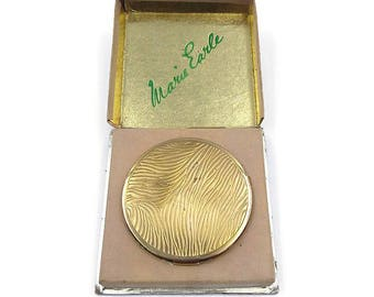 Marie Earle Compact in Original Box - Gold Embossed, Mirror Compact, Gold Tone Compact, Vintage Compact, Beauty Accessory