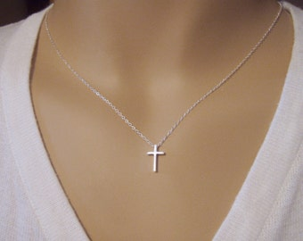 Cross necklace - Simple cross necklace - Dainty cross pendant - Sterling silver cross pendant - Small Cross  - Photo NOT actual size