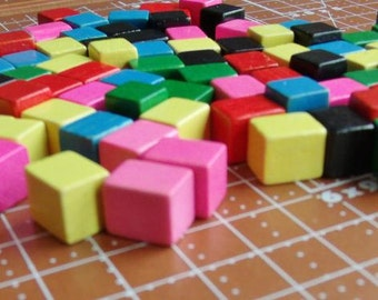 100 Vintage Wood Game Pieces  Assorted colors.